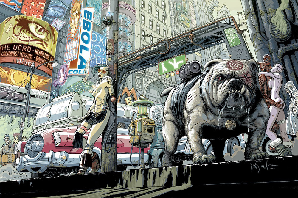 Illustration from the comic Transmetropolitan by DC Comics